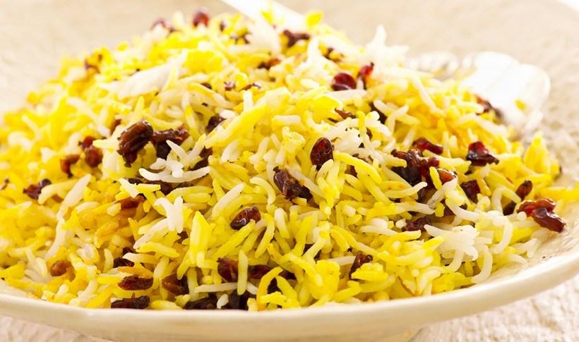 Περσικό ρύζι με σαφράν και ρόδι