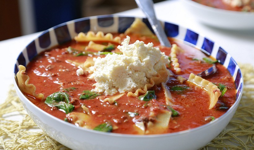 Λαζάνια σούπα με ρικότα